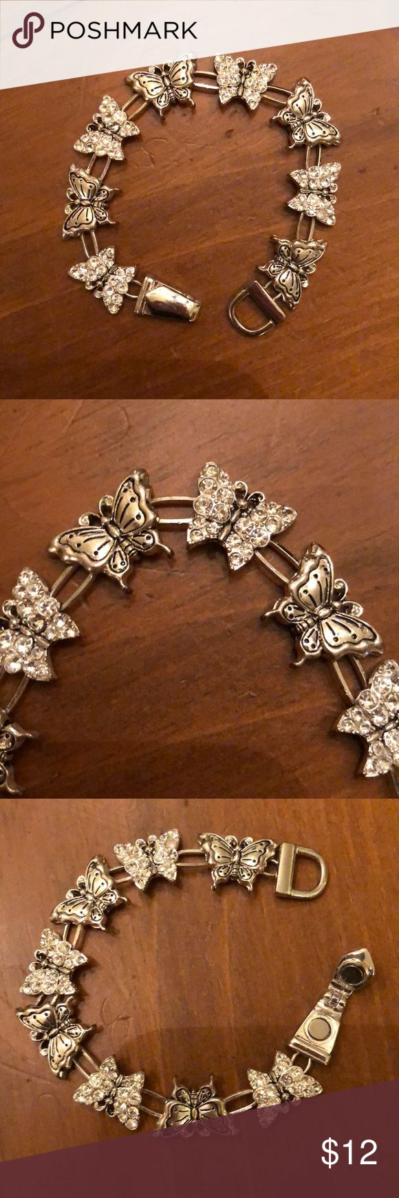 "🆕 SILVER BUTTERFLY BRACELET WITH RHINESTONES Silver Butterfly Bracelet➖Butterflies have Rhinestones➖7"" Bracelet➖Magnetic Closure➖Never Worn Jewelry Bracelets"