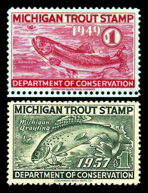 Trout stamps1948 1957 michigan fly fishing pinterest for Fishing license mi