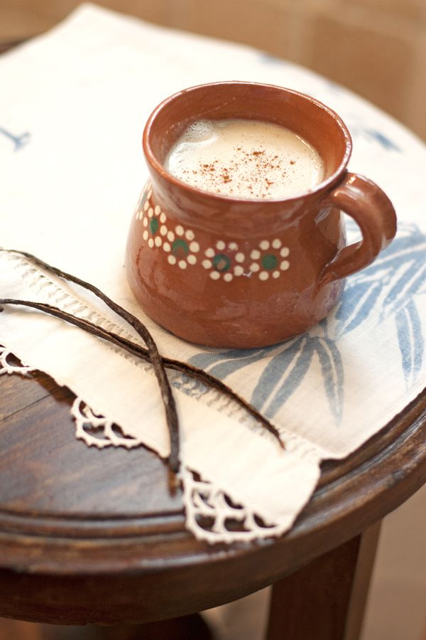 atole de vainilla in a beautiful Mexican olla de barro (clay pot).  Muy Bueno