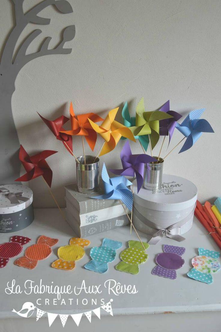 moulins à vent baptême arc en ciel - décoration mariage baptême arc en ciel