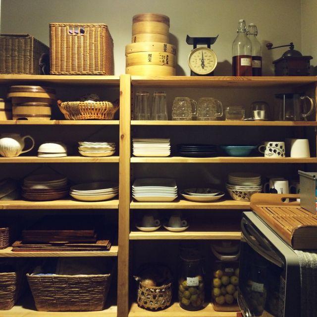 naonaoさんの、キッチン収納,見せる収納,IKEA,かご,ブラパラ,イッタラ,棚,のお部屋写真