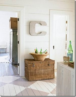 Love these ideas for updating a space using baskets, rugs, pillows, etc.! From @Remodelaholic #home #updates: Spaces, Decor Ideas, Paintings Wood Floors, Floors Design, Baskets, House, Letters, Paintings Floors, Beaches Cottages