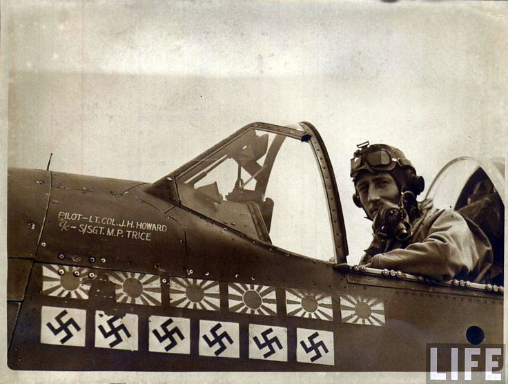 """On January 11, 1944, Major James Howard, alone,  flew his P-51 into thirty six German fighters that were attacking a formation of American B-17 bombers. For more than a hour, Howard defended the heavy bombers against the swarm of fighters, repeatedly attacking the enemy airplanes and shooting down as many as six. The leader of the bombers reported that, """"For sheer determination and guts, it was the greatest exhibition I've ever seen."""" Howard received the Medal of Honor for his action that…"""
