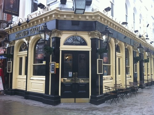 London Pub-- Museum Tavern across the street from British History Museum 'Old Peculier' ale recommended