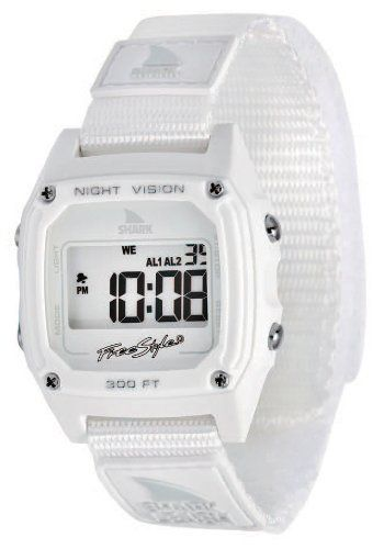 Freestyle USA Shark 88 Watch - Women's White, One Size Freestyle. $46.00. Time/Day. 2 alarms. 100 Meters H20. Original Shark Fin Night Vision backlight