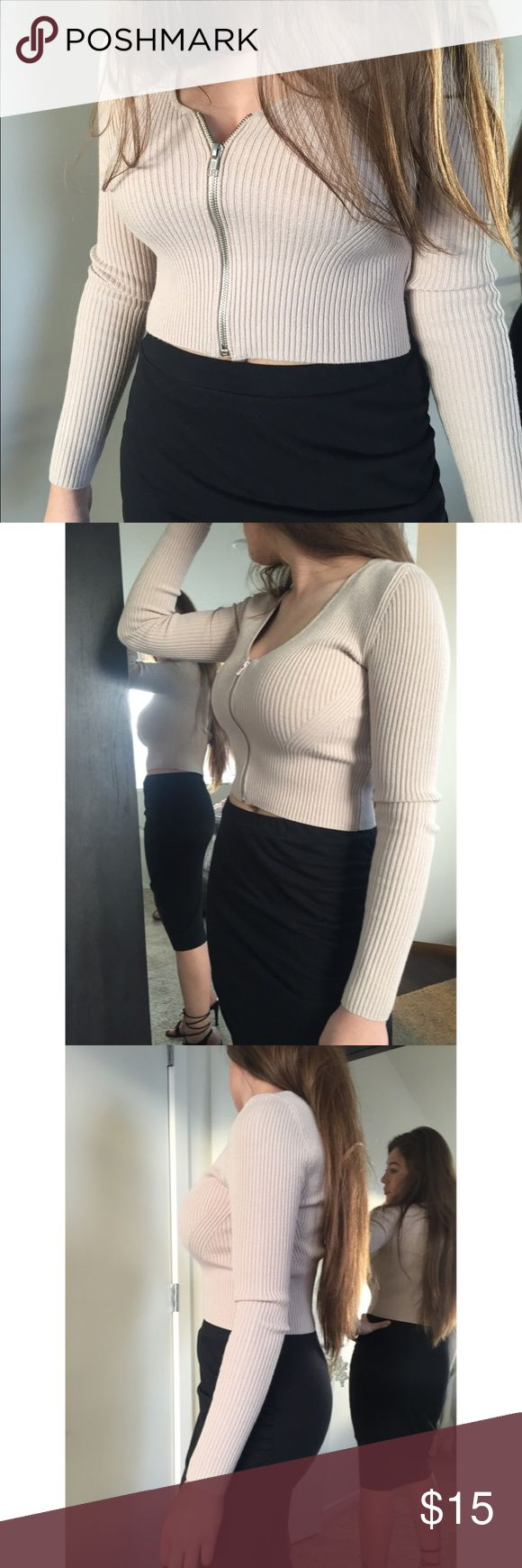 Beige zip up sweatshirt Top Zipper top. Thick material. Crop. Forever 21 Tops Crop Tops