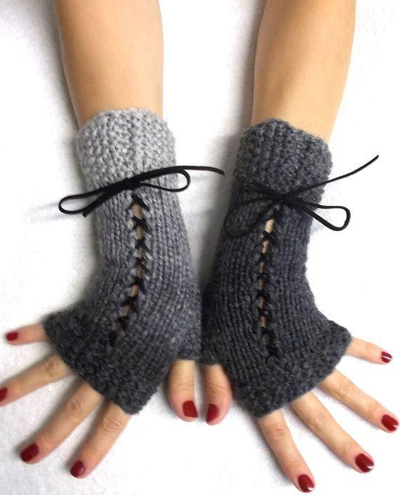 Knit  Fingerless Gloves Grey Shades Corset  Wrist Warmers