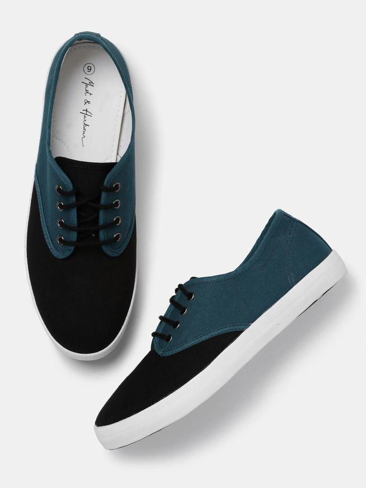 Mast & Harbour Black & Teal Green Colourblock Sneakers