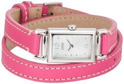 Coach Madison Women's Double Wrap Pink Leather Strap Watch 14501597