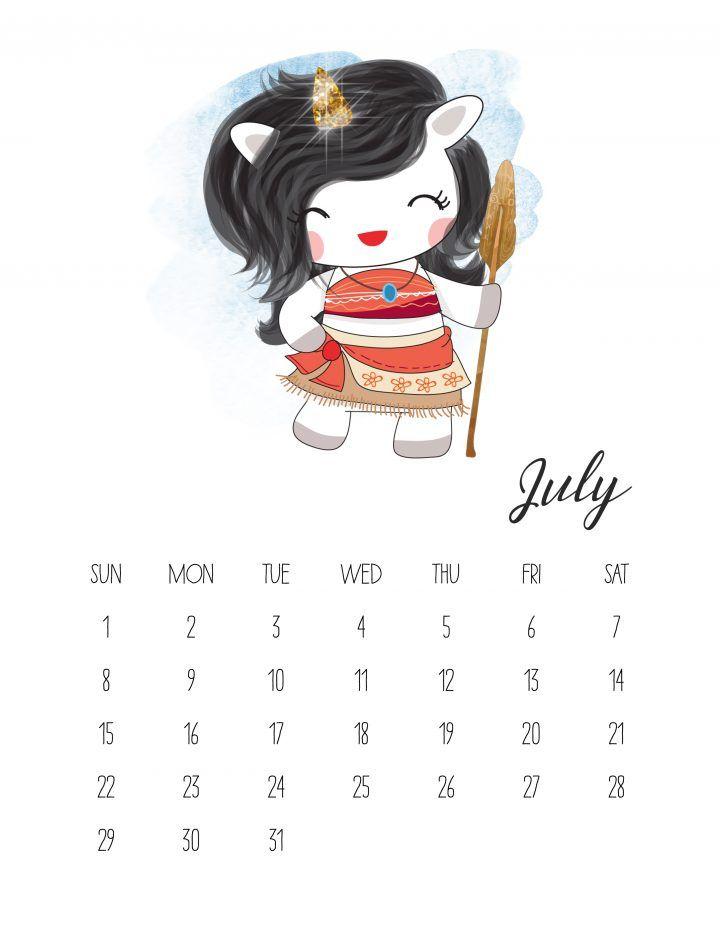 calendario 2018 de unicornios para imprimir gratis