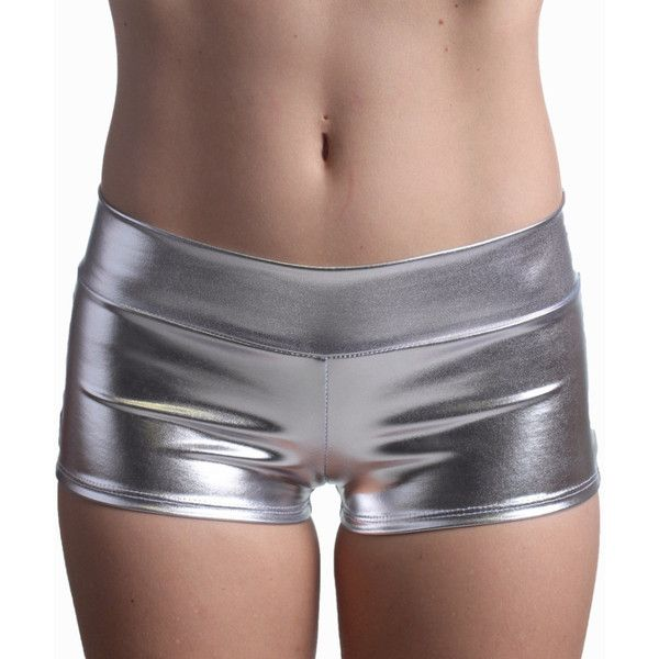 Silver Booty Shorts Silver Rave Booty Shorts Silver Boy Shirts Silver... ($15) ❤ liked on Polyvore featuring shorts, grey, women's clothing, silver shorts, short shorts, gray shorts, grey shorts and silver metallic shorts