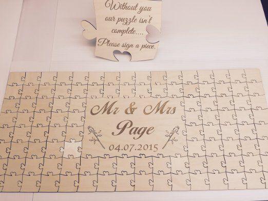 Personnalisée Puzzle en bois Livre d'or de mariage anniversaire Anniversaire, Bois dense, 56 Pieces 400x300mm (16