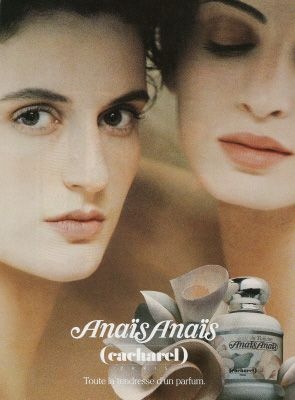 "affiches de parfums - ANAIS ANAIS (pronounced ""ana-EES"") introduced by Cacharel in 1978 - A soft floral fragrance that contains luscious white floral notes of lily of the valley, gardenia, jasmine, lilac, citrus, and ylang ylang with accents of orange, cedar, leather, and musk."