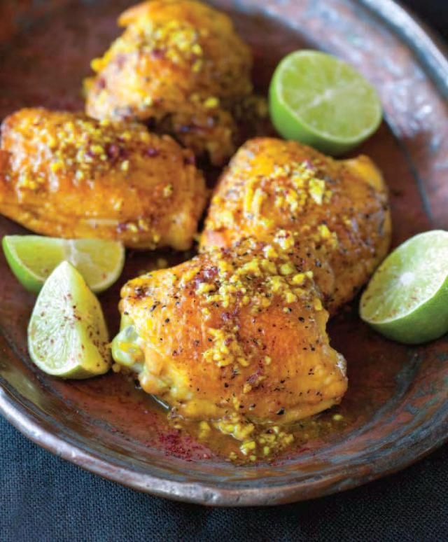 This very simple chicken dish is packed with great exotic flavor. Persian in origin, chicken thighs are braised with turmeric and sumac. Chicken thighs are suggested because they have more flavor but breasts would work just fine. Serve on rice or quinoa.
