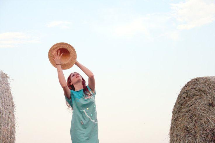Abito scollato dietro dipinto a mano Sophie en eau di Greta Pigatto couture su DaWanda.com