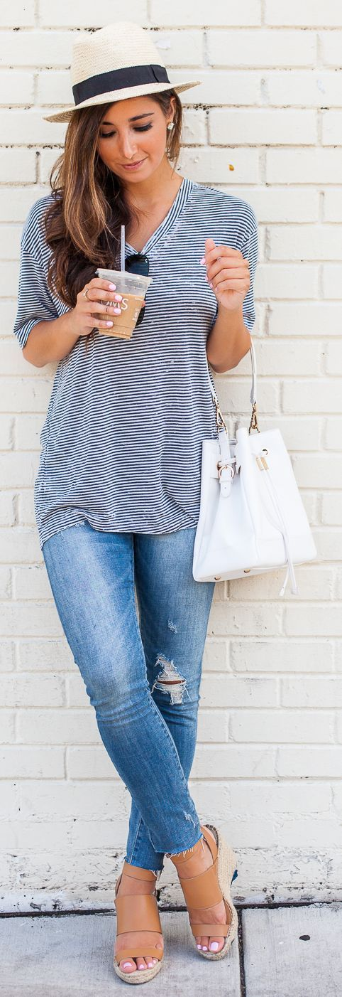 Black And Straw Fedora Hat Striped V-neck Tee Ripped Jeans Tan Sandals by The Darling Detail