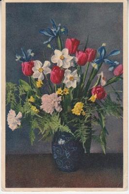 Thor E Gyger Postcard - 3271 - Vase of Spring Flowers