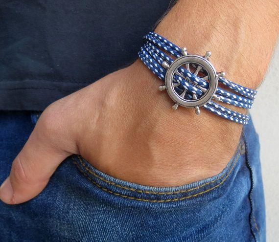 Men's Bracelet  Men's Nautical Bracelet  Men's Blue by Galismens