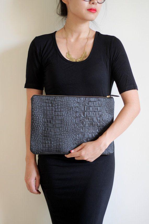 pouchettes: Pouchett Medium, Crocodiles Prints, Carryal Black, Products, Black Crocodiles, Medium Carryal