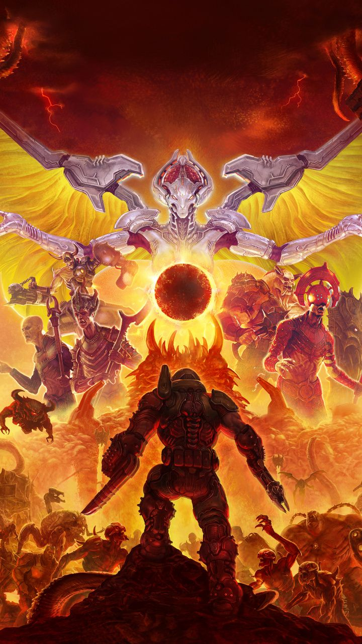 Download 2020 game, Doom Eternal wallpaper for screen