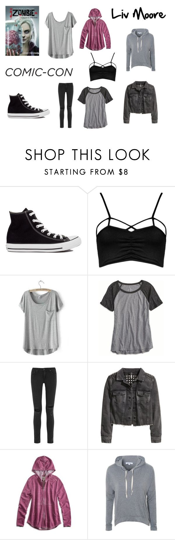 """""""Comic-con: Liv Moore"""" by musicalfashion78 ❤ liked on Polyvore featuring Converse, Boohoo, American Eagle Outfitters, rag & bone, H&M, Lucky Brand, Glamorous, women's clothing, women and female"""