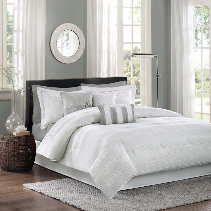 sets chezmoi dp chic king com collection ruched piece amazon white set comforter
