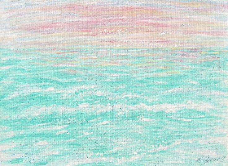 Ocean Art, Nursery Wall Art, Pink & Aqua, Girls Room, Tropical Art, Wave Art, Bedroom, Sea Art,  Beach Art, Coastal Decor, Cottage Decor by ColorWorkStudio on Etsy https://www.etsy.com/listing/76549365/ocean-art-nursery-wall-art-pink-aqua