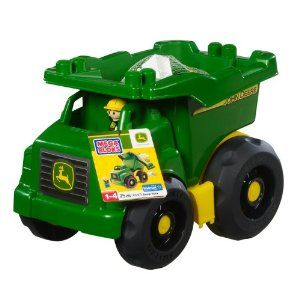 Mega Bloks John Deere Dump Truck by John Deere. $46.89. John Deere trucker figurine. An amazing value of 20 big blocks. Compatible with all John Deere by Mega Bloks products. Sturdy, John Deere branded truck with tilting bin and big wheels. Mega Bloks John Deere Dump Truck. Get your little trucker hauling heavy farm loads with the John Deere Dump Truck by Mega Blocks! Designed for your pint-sized preschool builder, the John Deere Dump Truck has a tilting bin with pronged tip...