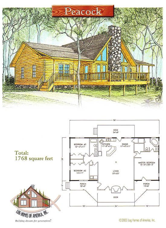 Peacock Log Home Floor Plan by Log Homes of America