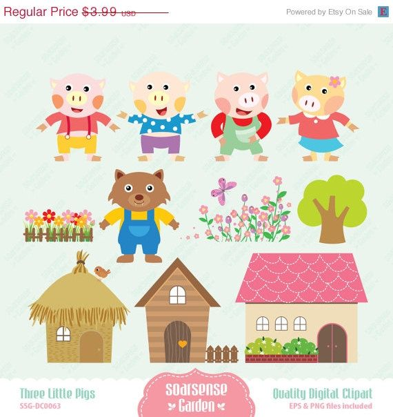30 OFF SALE Three Little Pigs Digital Clipart by SSGARDEN on Etsy, $2.79