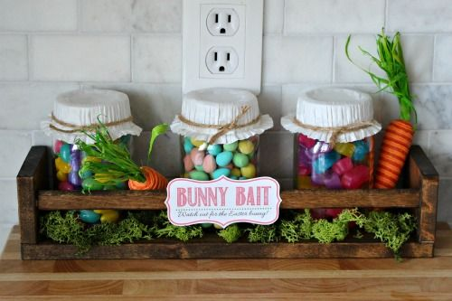 pantalla linda frasco de conservas Pascua con la etiqueta para imprimir gratis conejito cebo.  // cleanandscentsible.com