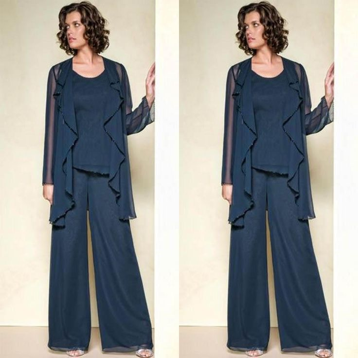 Dark Navy Blue Chiffon Three Pieces Mother Of The Bride Pant Suits Jackets For Mothers Trousers 3 4 Long Sleeve Formal Groom 2017 As Low