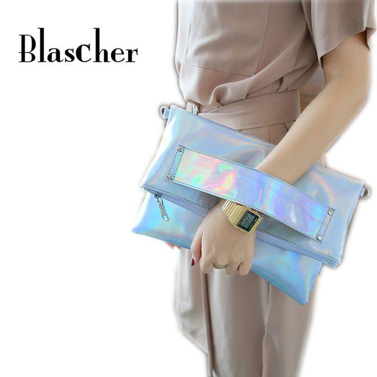 Blascher Hot Sale Women Laser Silver Handbag New Fashion Women Evening Bags Hologram Envelope Silver Evening Message Clutch Bag #Affiliate