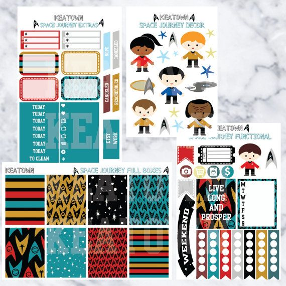 Live long and prosper Includes 4 sheets: 3 sheets approximately 4.5 x 6.5 1 sheets approximately 3.5 x 5 (and a limited edition freebie)  Please see all images above of what is included.  Sticker kits can be used in all planners, but are made to fit Erin Condren vertical planner. Colors may not be exactly as image appears. Printed on matte or glossy sticker paper. *Washi is always printed on matte Kiss cut for easy use!  If you have any other questions feel free to message me.
