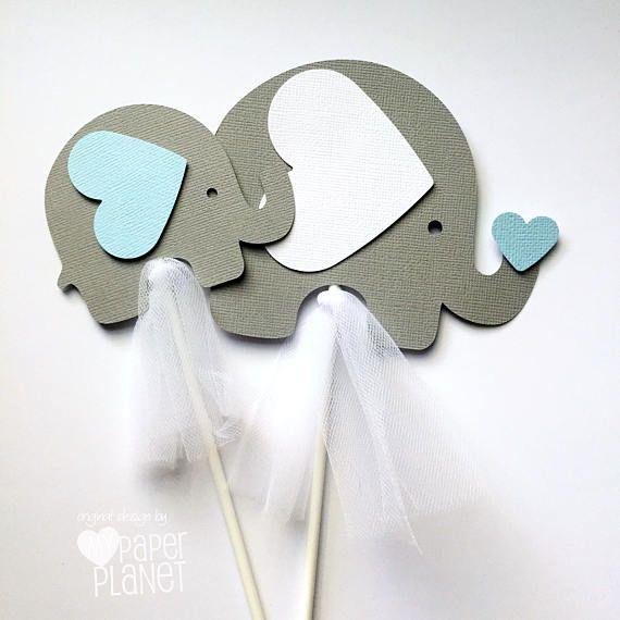Centro de mesa de elefante o pastel Topper Smash en azul claro