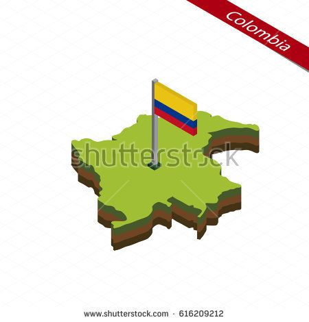 Isometric map and flag of Colombia. 3D isometric shape of Colombia. Vector Illustration.