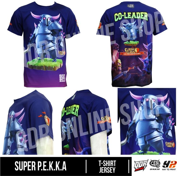 Super P.E.K.K.A (Jersey Clash of CLans) Bahan: Dry-fit printing: sublimasi untuk pemesanan: BBM D5443117 / 5A2ADBAE (Qdr online shop) WA/LINE 081222970120 / 081294340251