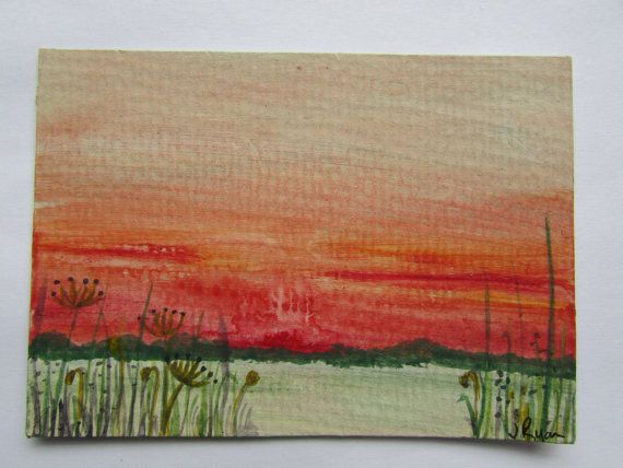 Original ACEO, ATC, Acrylic Painting of a Red Sunset over the Fens