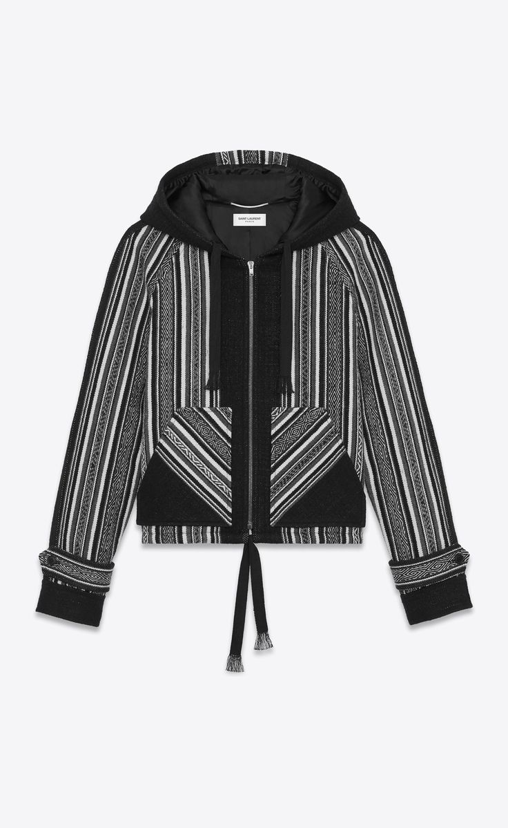 Saint Laurent BAJA Jacket In Black Wool And Cotton With Peruvian Motifs | YSL.com