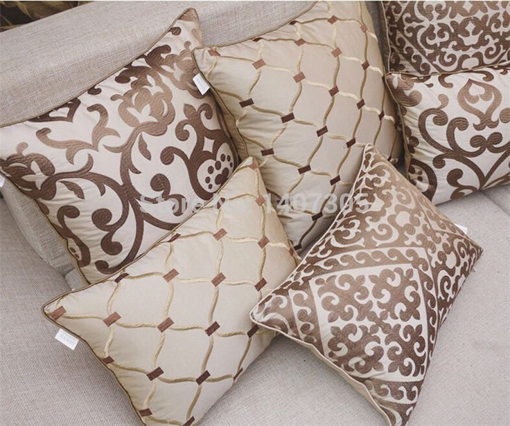 Moda de luxo bege bordado capa de almofada de cabeceira sofá fronha decorativa grátis frete em Almofadas de Casa & jardim no AliExpress.com | Alibaba Group