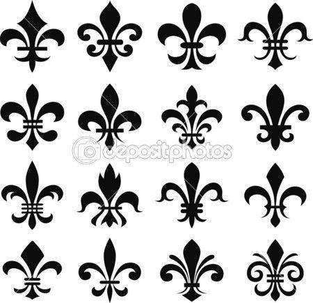 jeu de symboles classiques de fleur de lys — Illustration #16984803