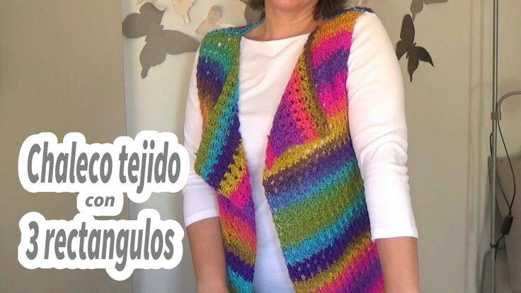 Como hacer un chaleco en crochet facil con 3 rectangulos | Ganchillo facil