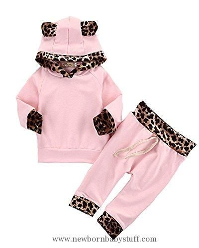 Baby Girl Clothes 2Pcs Cute Newborn Baby Girls Pink Leopard Hoodie T-shirt Top + Pants Outfits Set (3-6M, Pink&Leopard)