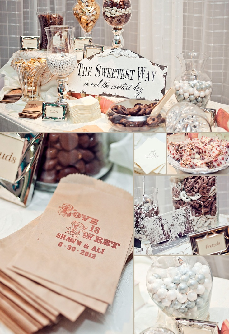 I love the personalized bags, and candy bar! Great wedding favor for guests to take home