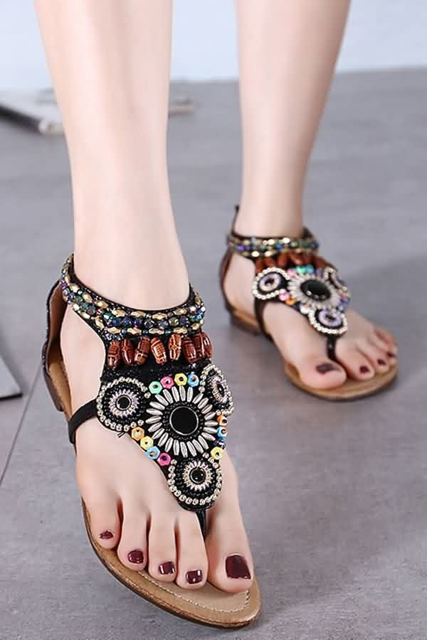 921985f2954 Black Bead Decro Boho Thong Flat Sandals  059694   Women s Sexy Sandals  Shoes