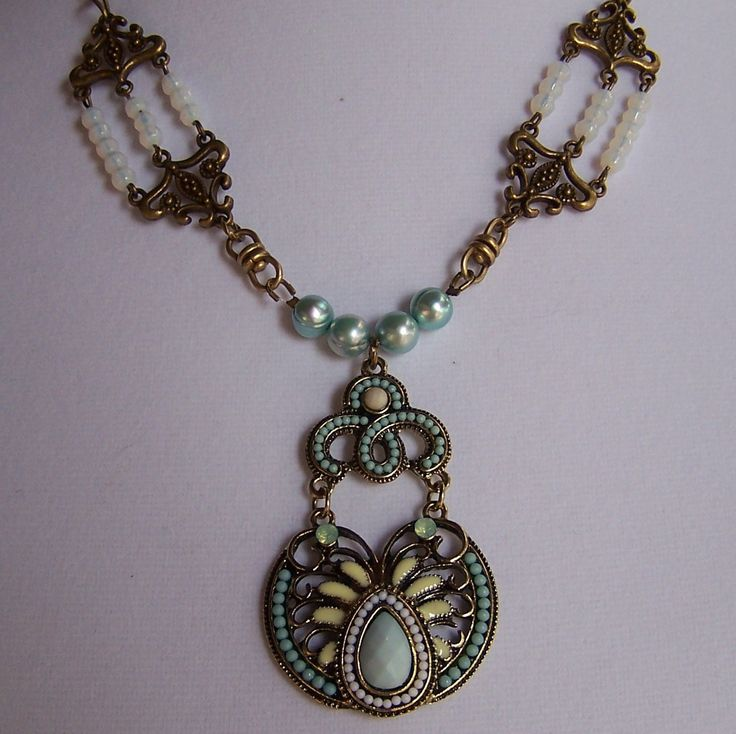 Ornate enamel pendant in aqua and pale yellow.  Victorian style necklace. by ShelbyAnnDesigns on Etsy