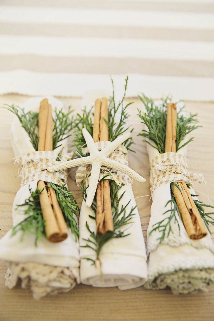 Beachy Christmas + home decor + dining  + Holidays + Shabby Holiday..simple holiday table dressing with cinnamon, greenery and coastal style + Thanksgiving