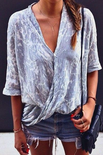 wrap top + denim shorts. #cutoffs.