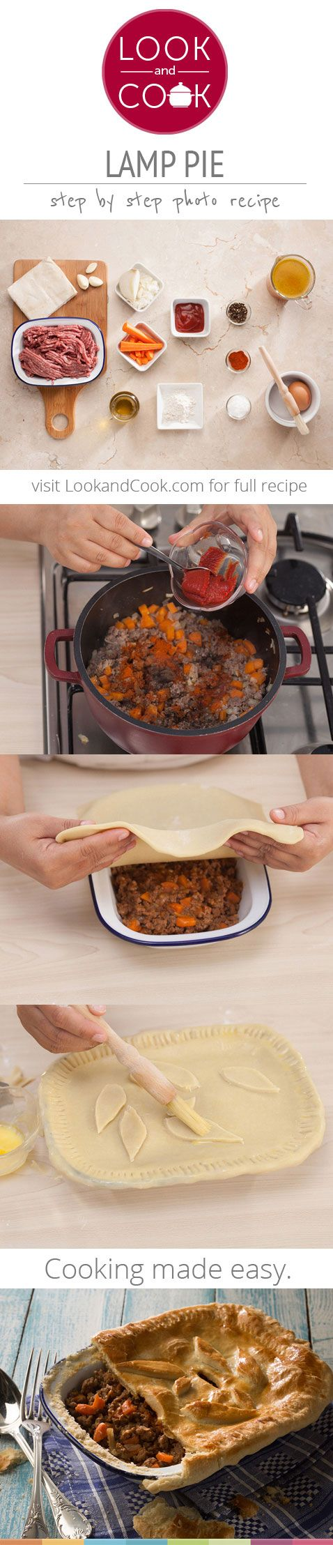 LAMB PIE RECIPE Lamb pie(#LC14106):  Tasty Lamb pie recipe with Vegetables baked to perfection in a crisp shortcrust pastry for that glorious mid-afternoon meal.