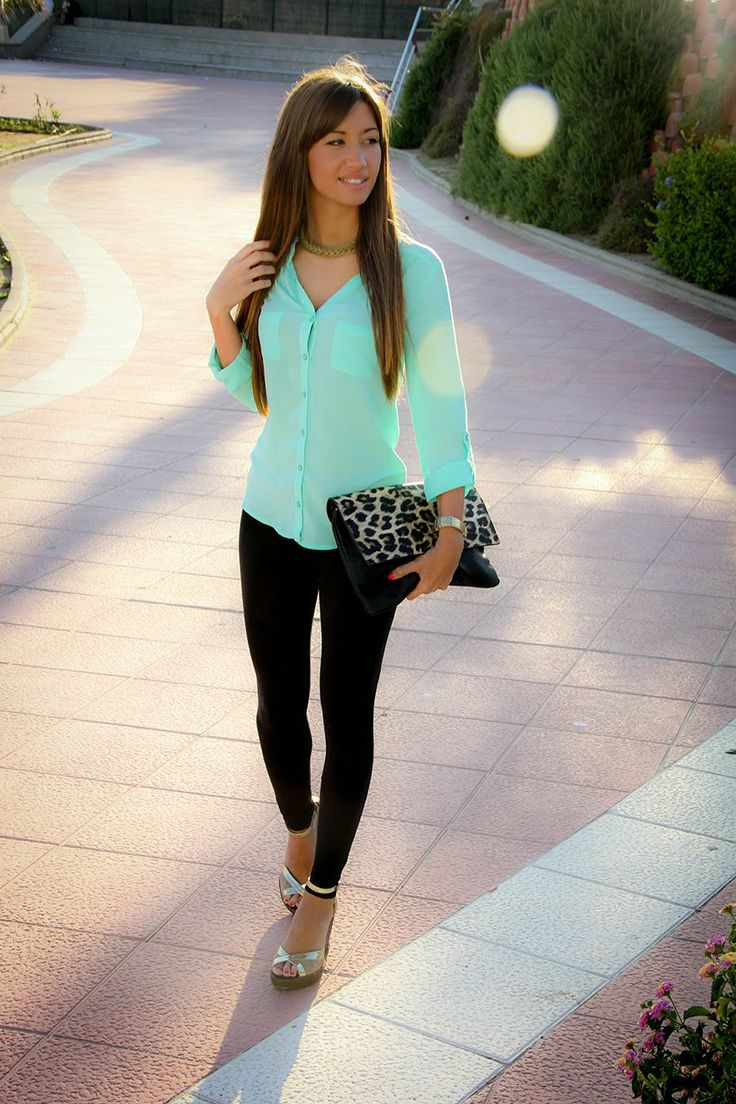 Mint Shirt with Black Leggings.